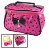 Women Heart Print Bowknot Decor Zipper Travel Cosmetic Bag Purse ...