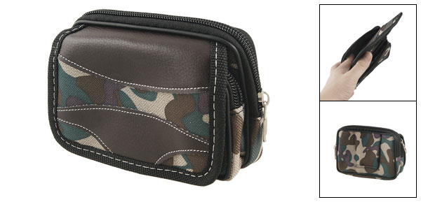 Men Green Camouflage Nylon 2 Compartment Zipper Rectangle Waist Bag Pack