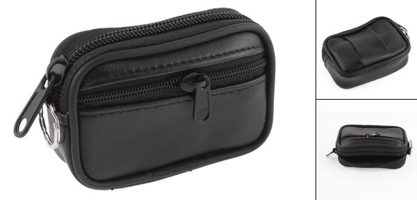 Black Faux Leather 2 Compartment Zipper Coin Purse Pouch for Lady