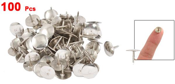 100 Pcs Silver Tone Notice Board Desk Thumb Tacks Pins