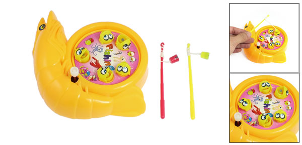 Children Yellow Plastic Fishes Rod Wind up Fishing Game Toy Set