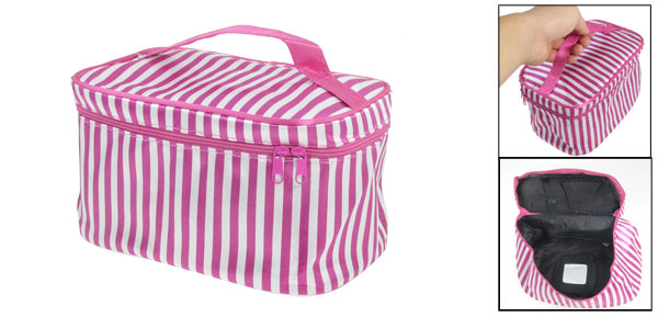 Ladies Zipper Closure White Fuchsia Striped Make up Handbag