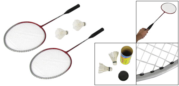 Nonslip Handle Black Amaranth Head Badminton Rackets w 2 Pcs Shuttlecocks