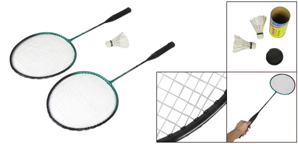 Pair Black Green Metal Shaft Head Badminton Rackets w Shuttlecocks