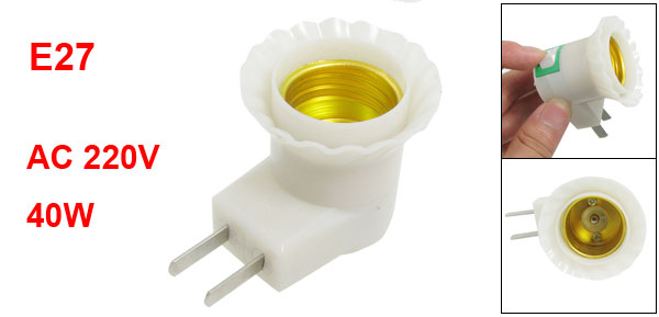 US AU Plug to Plastic E27 Screw Base Socket Lamp Adapter Bulb Holder 40W