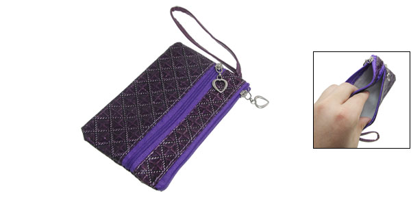 Zipper Closure 2 Compartments Purple PVC Faux Leather Bag Purse