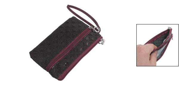 Burgundy Rhombus Pattern PVC Faux Leather Cell Phone Pouch