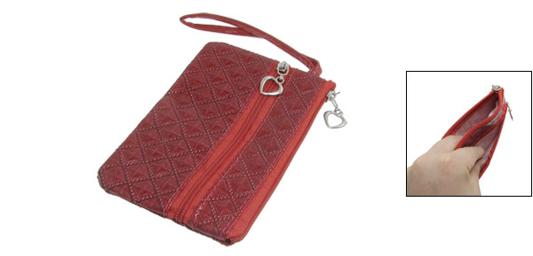 Crimson Square Stitching PVC Faux Leather Phone Pouch w Wrist Strap