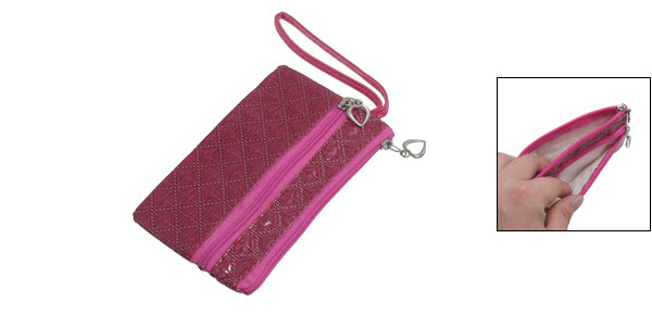 Square Stitching 2 Pockets PVC Faux Leather Phone Holder Fuchsia
