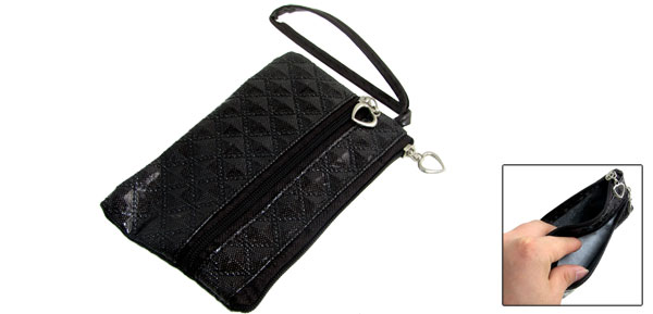 Dark Brown Rhombus Pattern PVC Faux Leather Cellphone Pouch