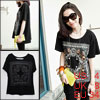 Ladies Black Scoop Neck Short Sleeve Novelty Prints Tee Shirt S