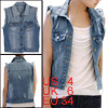 Woman Point Collar Single Breasted Light Blue Denim Vest S