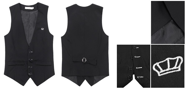 Mens Black Deep V Neck Stylish Casual Suit Waistcoat Vest M