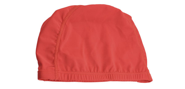 Polyester Dome Shaped Elastic Swimming Bathing Swim Cap Hat Red