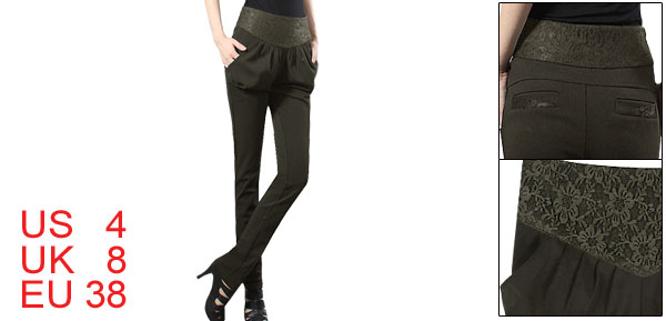 Lace Panel Waist Pleated Upper Olive Green Pants S for Lady