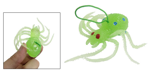 Soft Green Silicone Artificial Lifelike Spider Shaped Toy Decor Pendant