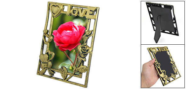 14.5cm x 10.4cm Flower Detail Bronze Tone Cut Out Photo Frame