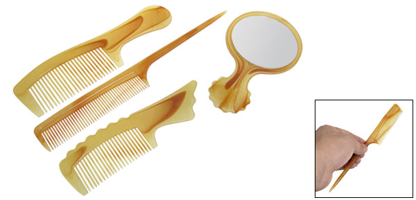 Brown Handheld Oval Mirror Plastic Comb 4 in 1 for Lady