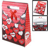 Dots Heart Printed Folding Paper Gift Bag Box Holder Brown Red