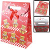 Bowknot Detail Bear Printed Red Hook Loop Fastener Paper Gift Bag