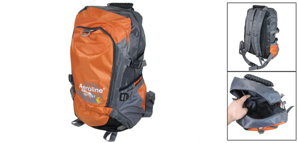 Orange Gray Adjustable Wide Shoulder Strap Hiking Mountaineering Backpack