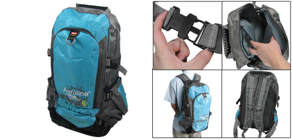 Blue Gray Adjustable Wide Shoulder Strap Mountaineering Bag Backpack