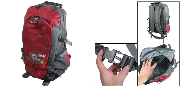 Red Gray Adjustable Wide Shoulder Strap Hiking Bag Mountaineering Backpack