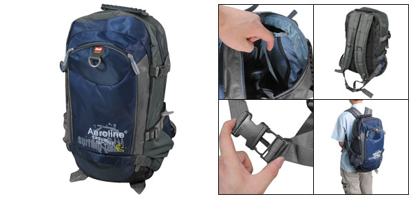 Navy Blue Gray Adjustable Wide Shoulder Strap Hiking Mountaineering Backpack