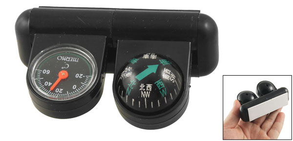 Black Car Traveling Stand Compass Ball Thermometer w Base