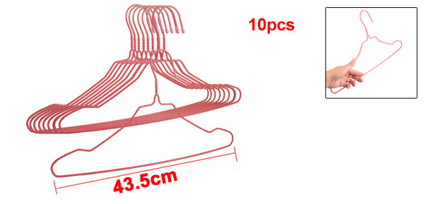 10 Pcs Red Plastic Wrapped Metal Household Clothes Hook Hanger