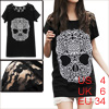 Woman Lace Panel Shoulders Skull Prints Front Black Shirt S
