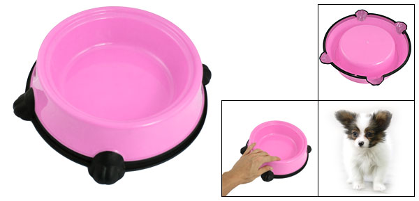 Pink Black Plastic Pet Cat Dog Food Water Feeding Bowl Dish
