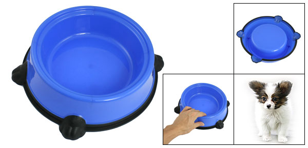 Blue Black Plastic Pet Cat Dog Food Water Feeding Bowl Dish