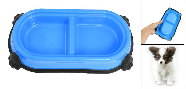 Blue Black Plastic Dual Compartments Pet Cat Dog Food Water Feeding Bowl Dish