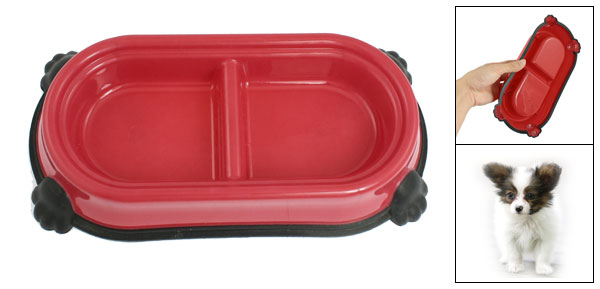 Red Black Plastic Dual Compartments Pet Cat Dog Food Water Feeding Bowl Dish