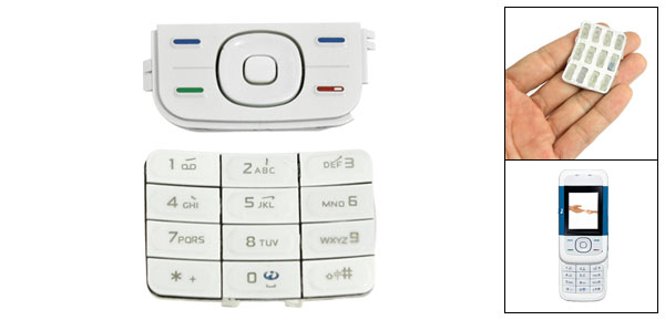 Plastic Replacement Keypad Keyboard Button White for Nokia 5200