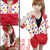 Women Zip up Colorful Dots Print Bat Sleeves Sports Suits XS