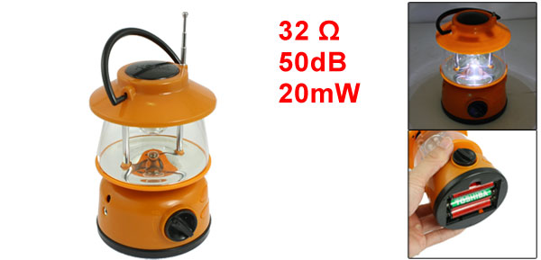 Outdoor Camping White 3 LED Lantern Light with FM Auto Scan Radio Orange