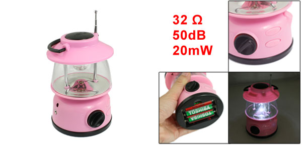 Outdoor Camping White 3 LED Lantern Light with FM Auto Scan Radio Pink