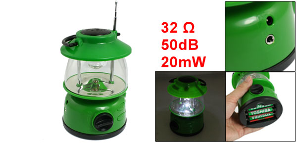 Outdoor Fishing White 3 LED Lantern Light with FM Auto Scan Radio Green