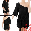Woman Off One Shoulder Solid Black Jumpsuit Romper S