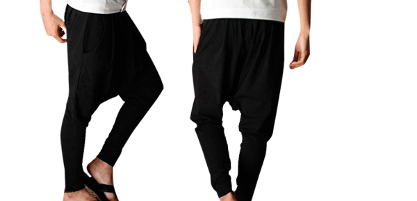 Mens Casual Baggy Harem Tapered Hip Hop Pants Trousers Black W28