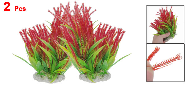 2 Pcs Ceramic Base Green Red Plastic Plants 7.7