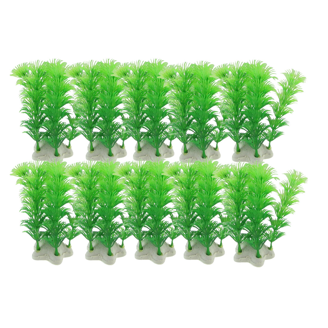 10-x-Fish-Tank-Ceramic-Base-Artificial-Green-Plastic-Plants-3-9-High