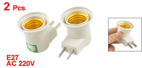 2 Pcs AC 220V AU 2 Flat Pin Plug E27 Socket Lamp Bulb Holder