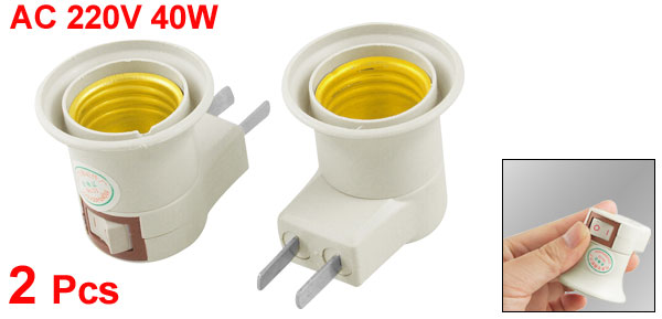 2 Pcs Screw E27 2 Flat Pin Plug Socket Lamp Bulb Holder AC 220V 40W
