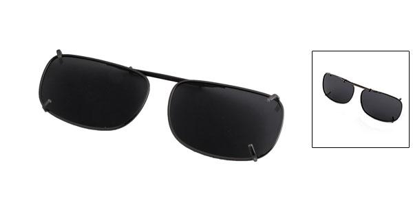 Unisex Gray Lens Metal Frame Sunshade Clip On Polarized Eyewear Eyeglasses