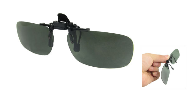Women Men Atrovirens Lens Flip Up Sports Clip On Polarized Sunglasses 5.7 x 3.6cm