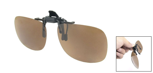 Unisex Teardrop Flip Up Driving Clip On Polarized Sunglasses Glasses Dark Brown