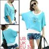 Women English Letters Pattern Sky Blue Shirt w White Racer Back Tank Top XS